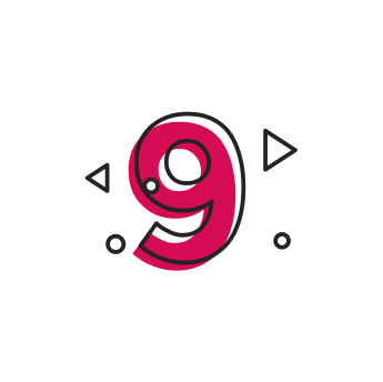 Icon of numeric number nine