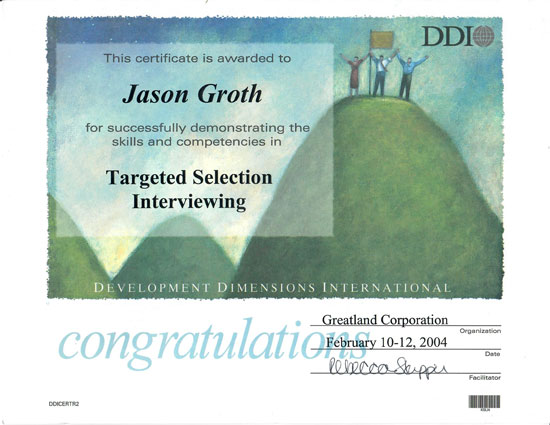 Certificate of targeted selection interviewing