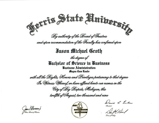 Bachelor of Science in Business Certificate
